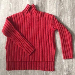 Wool cashmere rib oversized turtleneck sweater